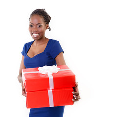 Joyful happy smiling young african woman holding red gift boxes,