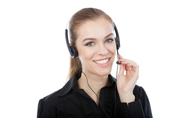 Smiling customer service worker
