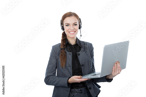 Portrait of a beautiful service customer worker holding a laptop