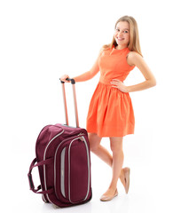 Happy charismatic teen girl with travel bag over white