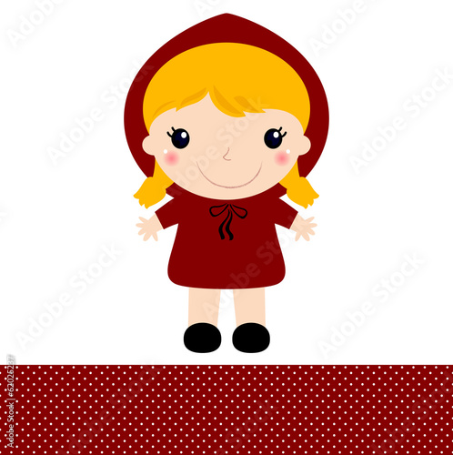 Cute retro Red riding hood isolated on white