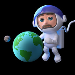 3d Astronaut studies the Earth and Moon