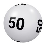Loto, boule blanche numéro 50