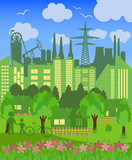 Environmentally symbols of urban lifestyles poster