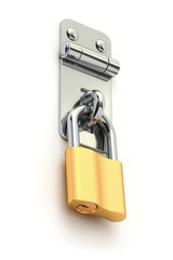 Iron metal latch with the padlock