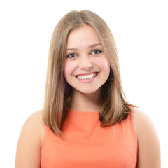 portrait of attractive teenager girl smiling in cheerful mood, o