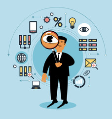 Cartoon man with a magnifying glass and business icons.