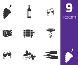 Vector black wine icons set