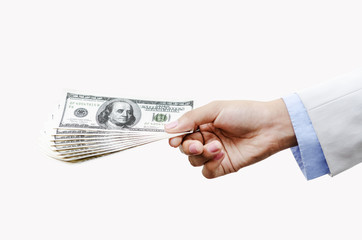 Hand of business people holding money