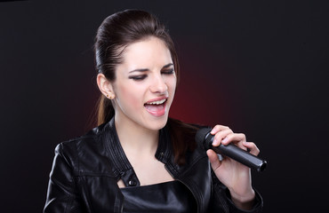 Attractive girl with microphone