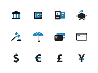 Banking duotone icons on white background.