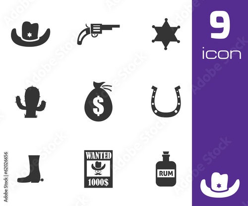 Vector black wild west icons set