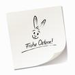 Haftnotiz mit Hasen-Smiley - Frohe Ostern