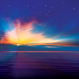 abstract blue background with clouds and sea sunrise