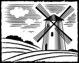 old style black and white landscape with windmill