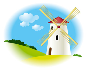 color landscape with windmill in ellipse