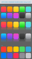 Standard colors and sizes for new apps icons.