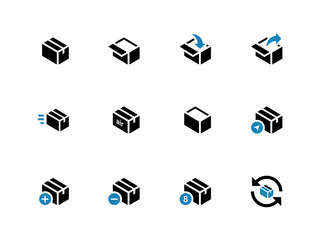 Box duotone icons on white background.