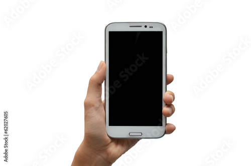 Woman hand using mobile phone touch screen on white background