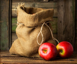 Red ripe apples in a bag