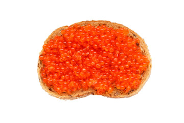 caviar sandwich isolated on a white background