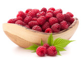 raspberries in wooden bowl