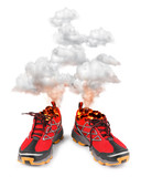 Red hot sport running shoes