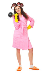 Anger housewife with cigarette and plunger