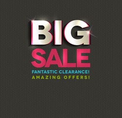Big sale poster, cut out letters, beautiful bright colors