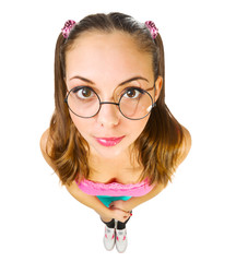 Funny schoolgirl in nerd glasses
