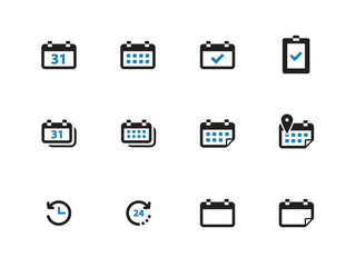 Calendar duotone icons on white background.