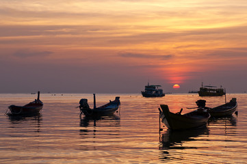 Boats during the sunset, Thailand