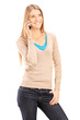 Girl in casual clothes talking on a cell phone
