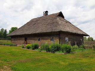 Typical, ethnographic wooden house in Rumsiskes