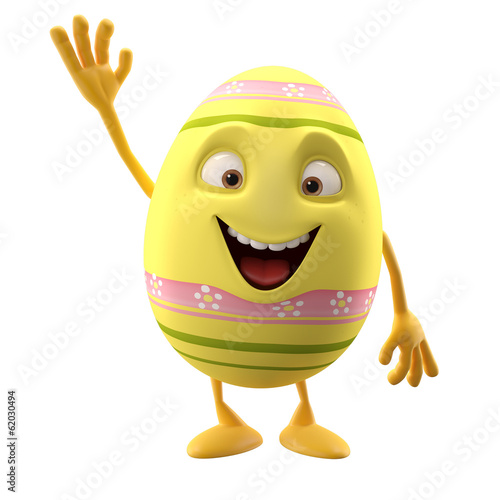 3D easter character, cheerful cartoon, amusing egg isolated