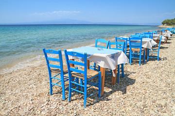 Greek tavern by the aegean sea