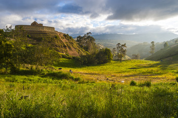 Ingapirca, wall and town, largest known Inca ruins in Ecuador