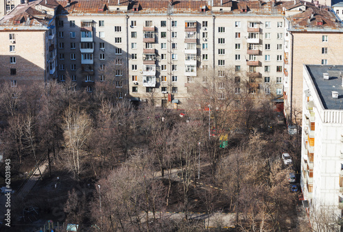 Moscow urban courtyard in residential district