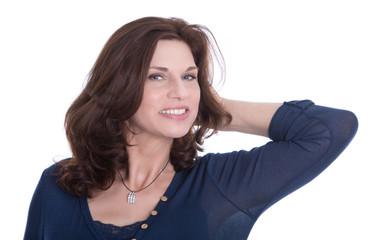 Glückliche entspannte Frau mit 50 Jahren - Gesicht isoliert