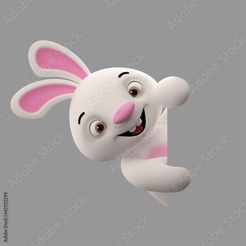 Amazing 3D happy easter bunny, rabbit, animal character