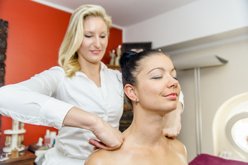 Young woman during massage procedure