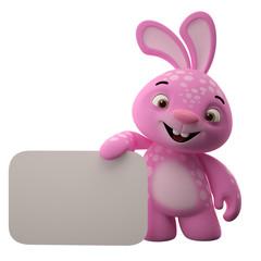 Amazing 3D velikonoční zajíček, veselé kreslený králík