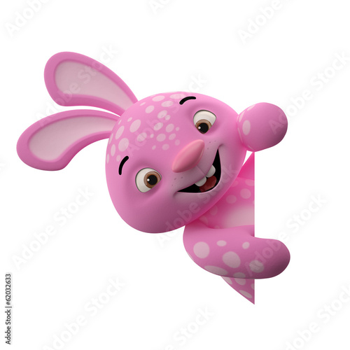 Amazing 3D happy easter bunny, merry cartoon rabbit