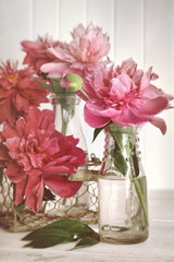 Peonies in milk bottles