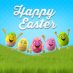 Happy Easter eggs, merry 3D set, spring series, happy cartoon