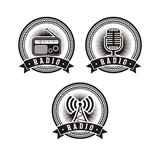 set of radio badges