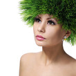 Spring Woman. Beautiful Girl with Green Grass Hair. Fashion