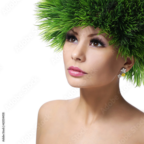 Spring Woman. Beautiful Girl with Green Grass Hair. Fashion