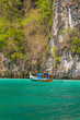 Longtail boat in the famous Maya bay of Phi-phi Leh island