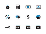 Economy duotone icons on white background.